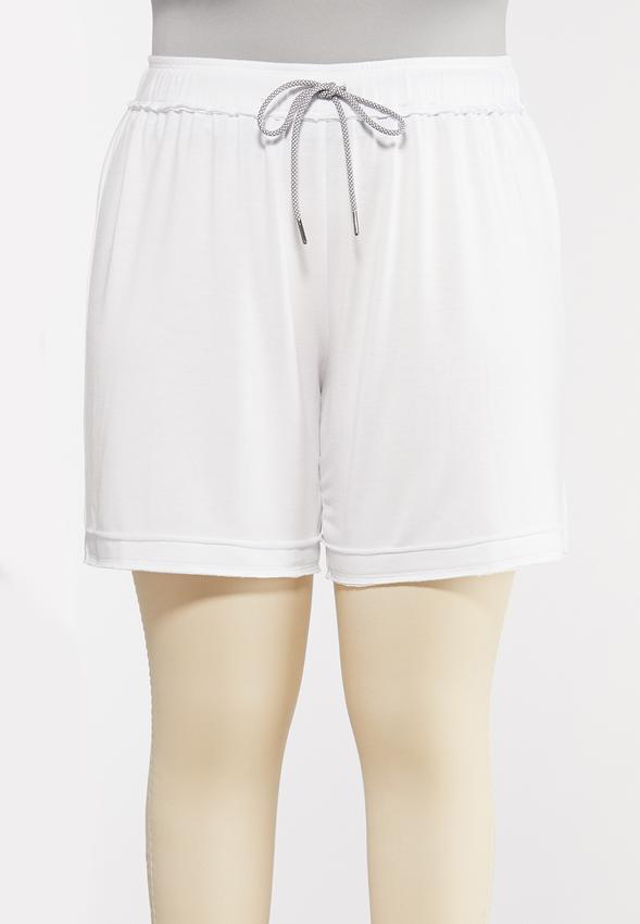 Plus Size French Terry Raw Hem Shorts