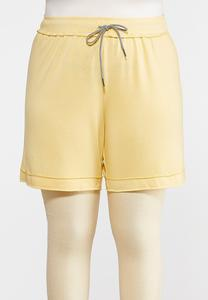 Plus Size French Terry Raw Hem Shorts