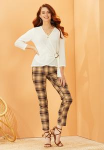 Khaki Plaid Bengaline Pants