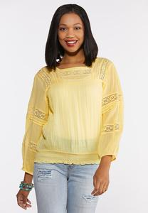 Smocked Balloon Sleeve Top