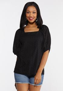 Plus Size Eyelet Puff Sleeve Top