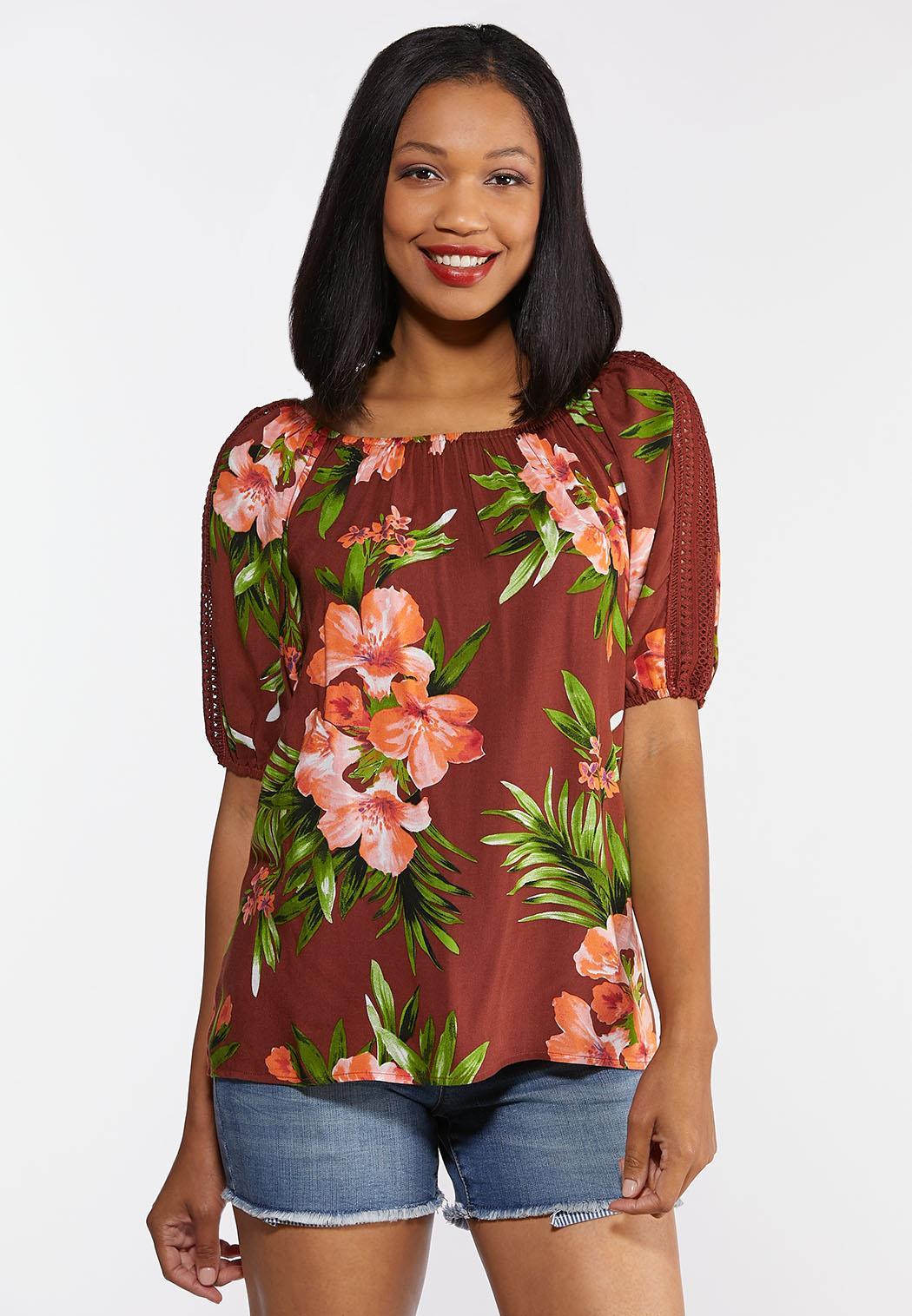 Plus Size Tropical Crochet Top