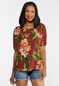 Plus Size Tropical Crochet Top