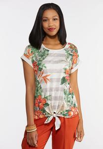 Plus Size Tropical Tie Top