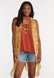Plus Size Sheer Snake Print Vest