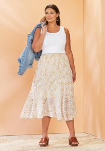 Floral Breeze Midi Skirt
