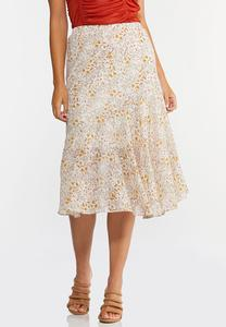 Plus Size Floral Breeze Midi Skirt