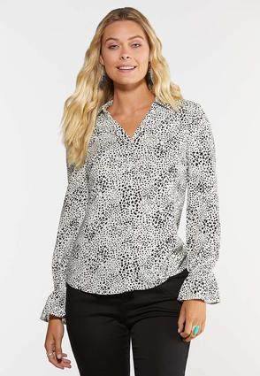 Plus Size Spotted Button Down Shirt