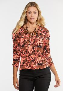 Plus Size Mango Floral Top