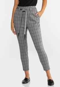 Petite Plaid Paperbag Trousers