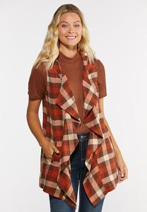 Plus Size Orange Plaid Vest