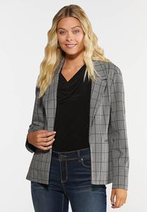 Herringbone Plaid Blazer
