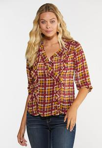 Sheer Ruffled Plaid Top
