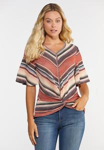 Plus Size Twisted Stripe Top