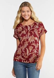 Plus Size Floral Button Hem Top