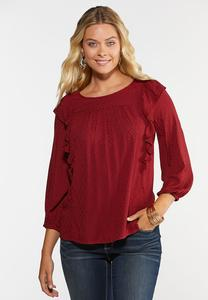 Plus Size Red Ruffled Top