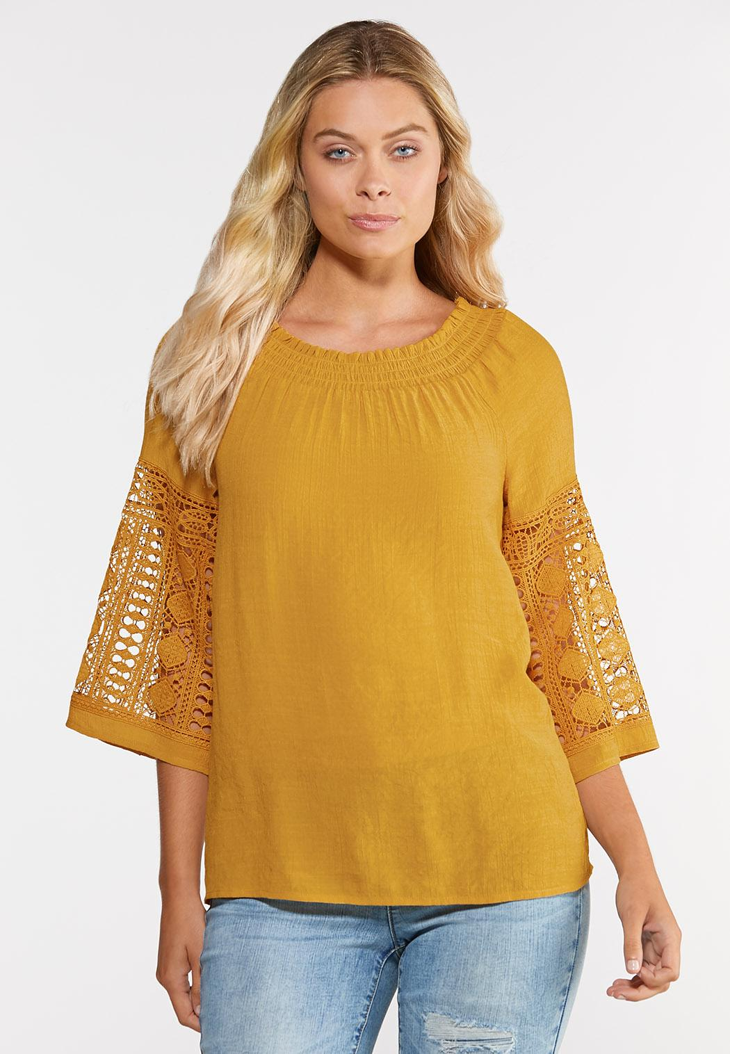 Plus Size Convertible Crochet Sleeve Top