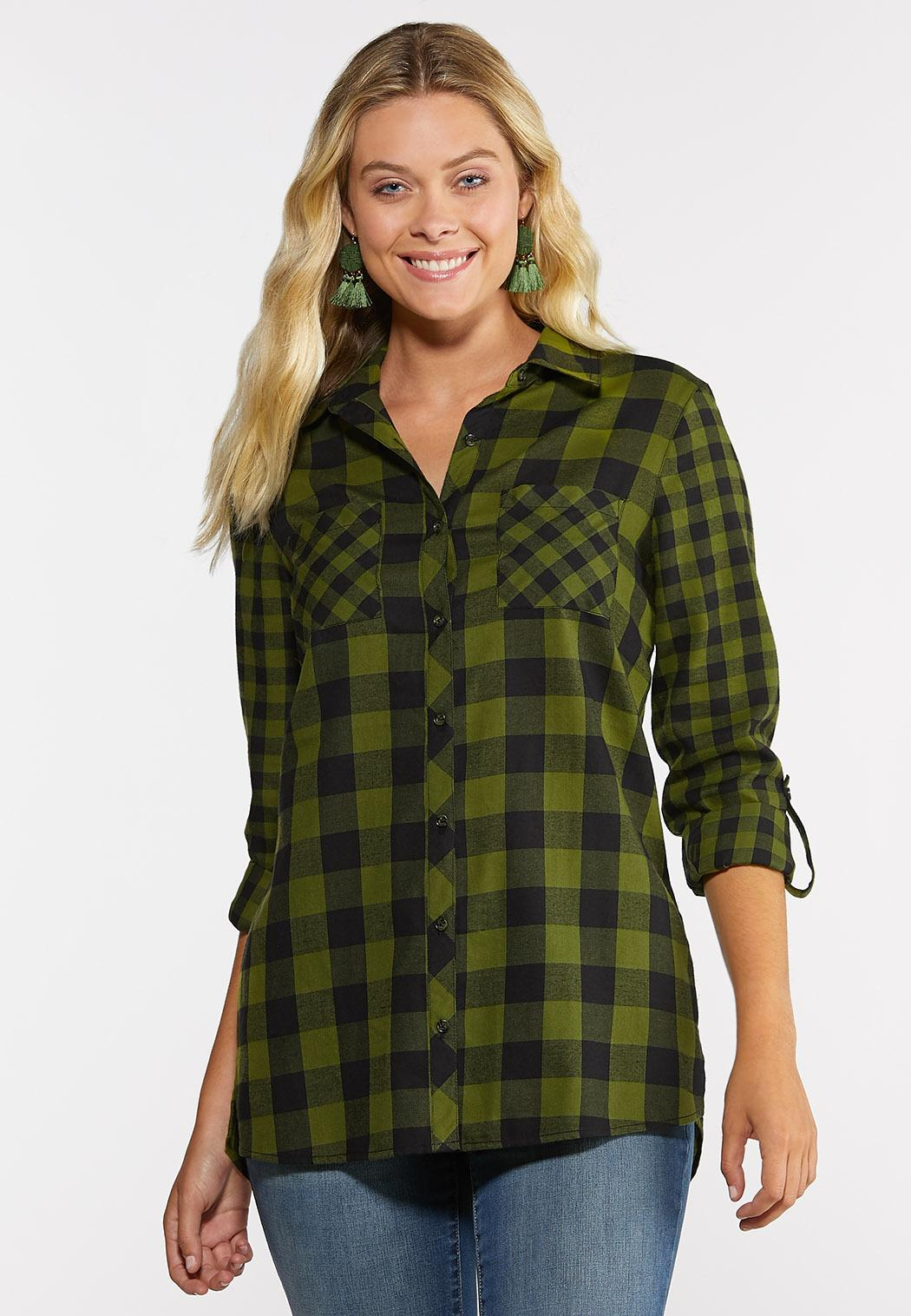 Plus Size Green Plaid Shirt