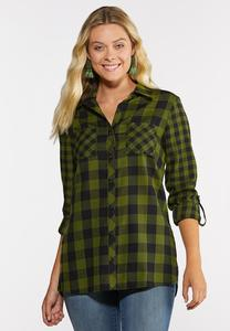 Plus Size Green Plaid Shirt