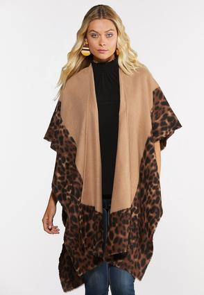 Leopard Border Fleece Poncho
