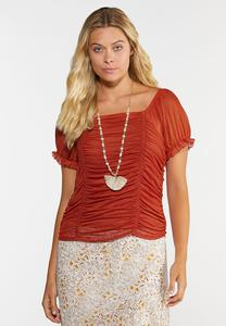 Mesh Puff Sleeve Top