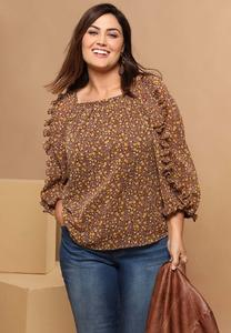 Plus Size Floral Ruffled Sleeve Poet Top
