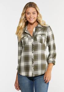 Olive Plaid High-Low Shirt