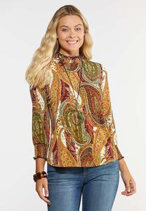 Plus Size Paisley Ruffled Mock Neck Top