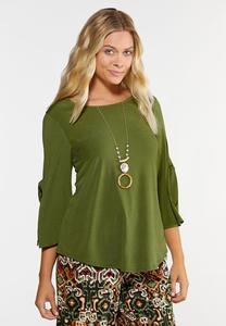 Plus Size Green Tie Sleeve Top