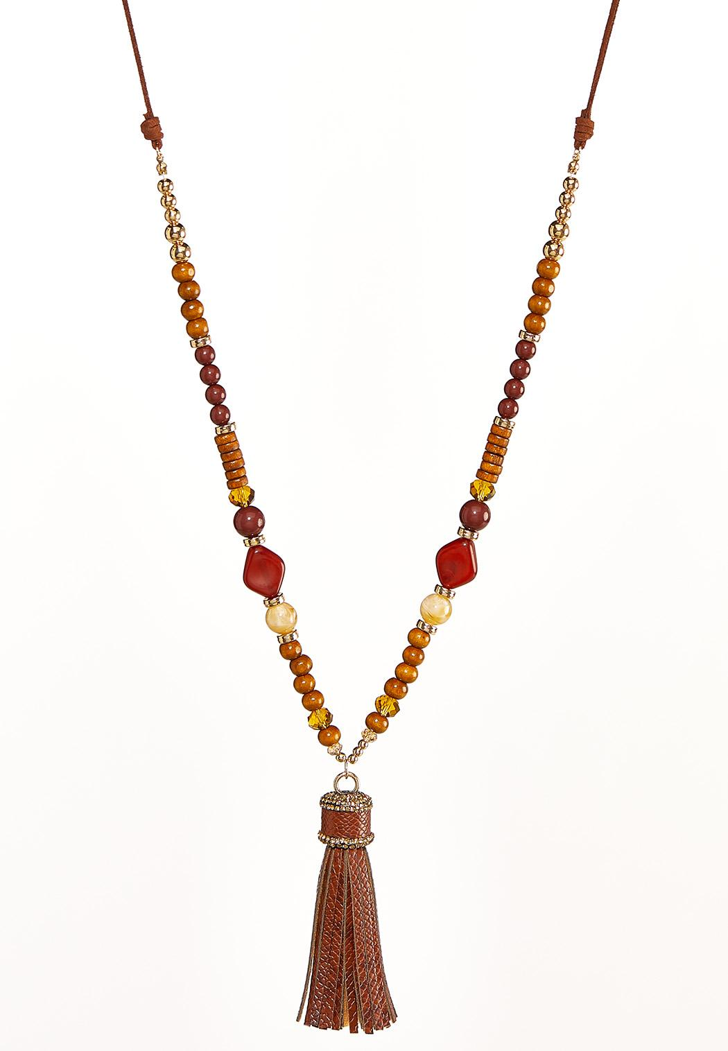Tasseled Wooden Bead Necklace