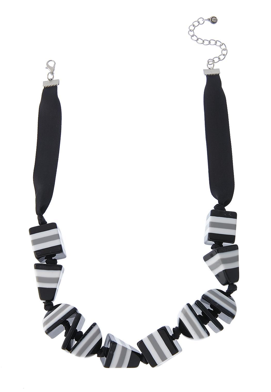 Acrylic Block Ribbon Necklace