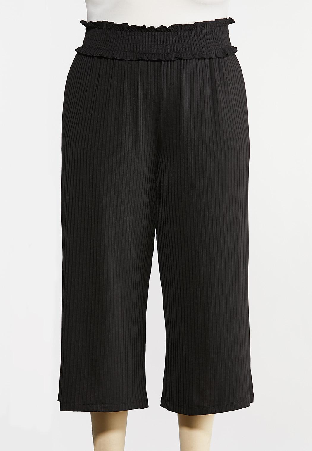 Plus Size Smocked Waist Crop Pants