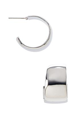 Silver Huggie Hoop Earrings