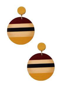 Stripe Wood Clip-On Earrings