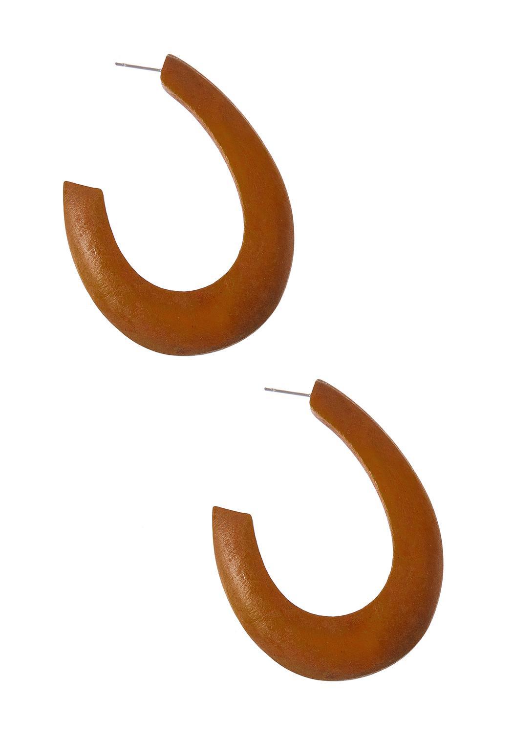 Wood Cutout Hoop Earrings