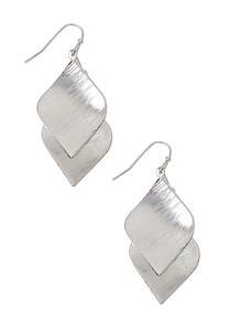 Brushed Silver Leaf Earrings