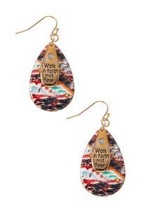 Inspirational Printed Metal Earrings