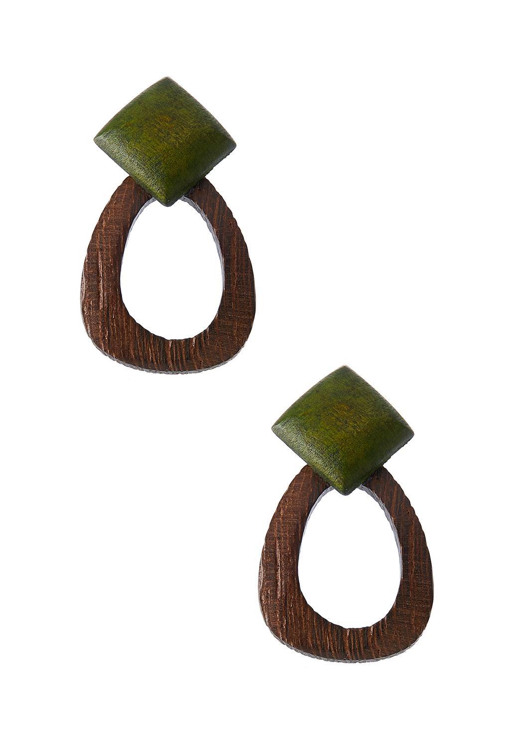 Two-Toned Geo Wood Earrings