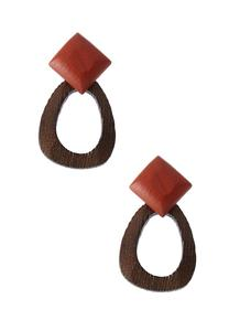 Two-Toned Geo Wood Earrings