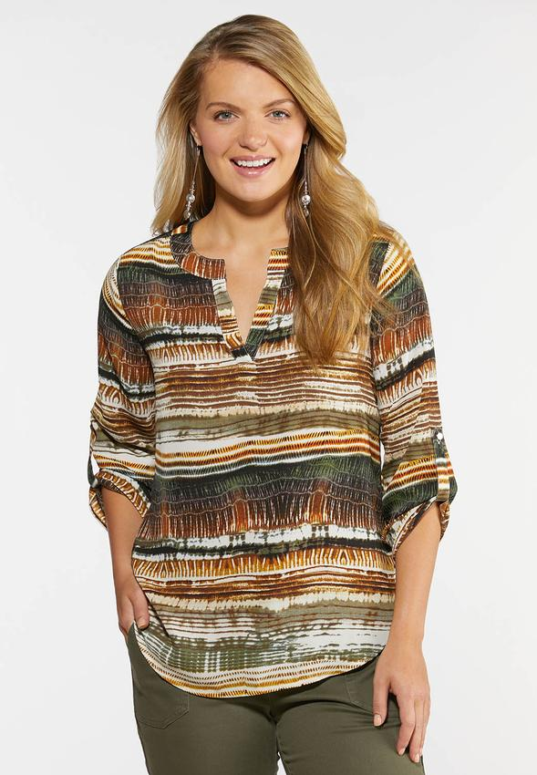 Plus Size Neutral Print Pullover Top