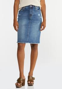 Plus Size Distressed Denim Skirt