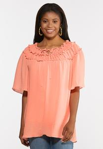 Plus Size Ruffled Off Shoulder Poet Top