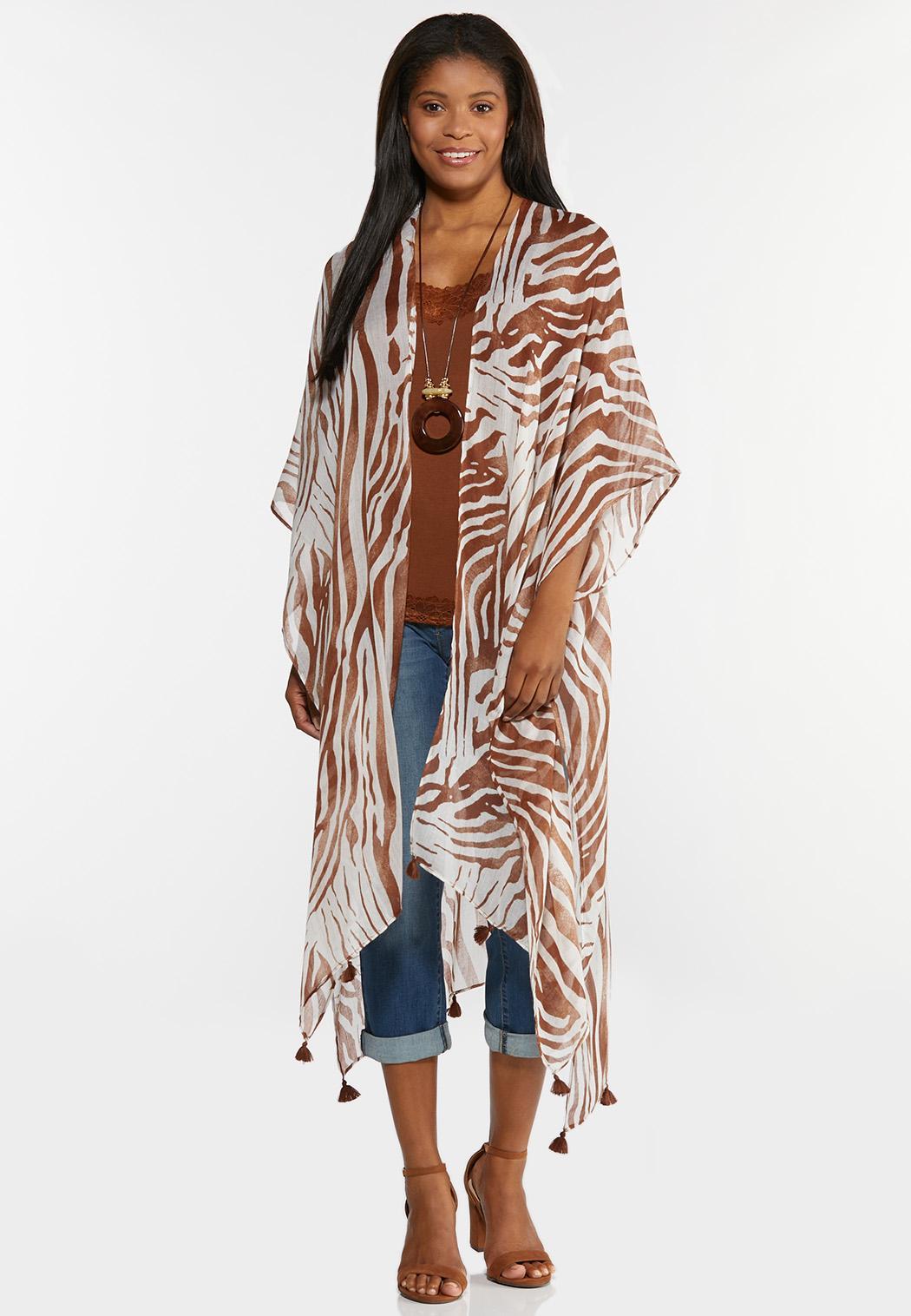 Tasseled Zebra Kimono