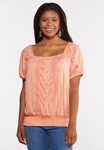 Plus Size Lacy Smocked Waist Top