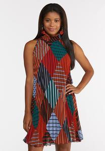 Pleated Diamond Stripe Swing Dress