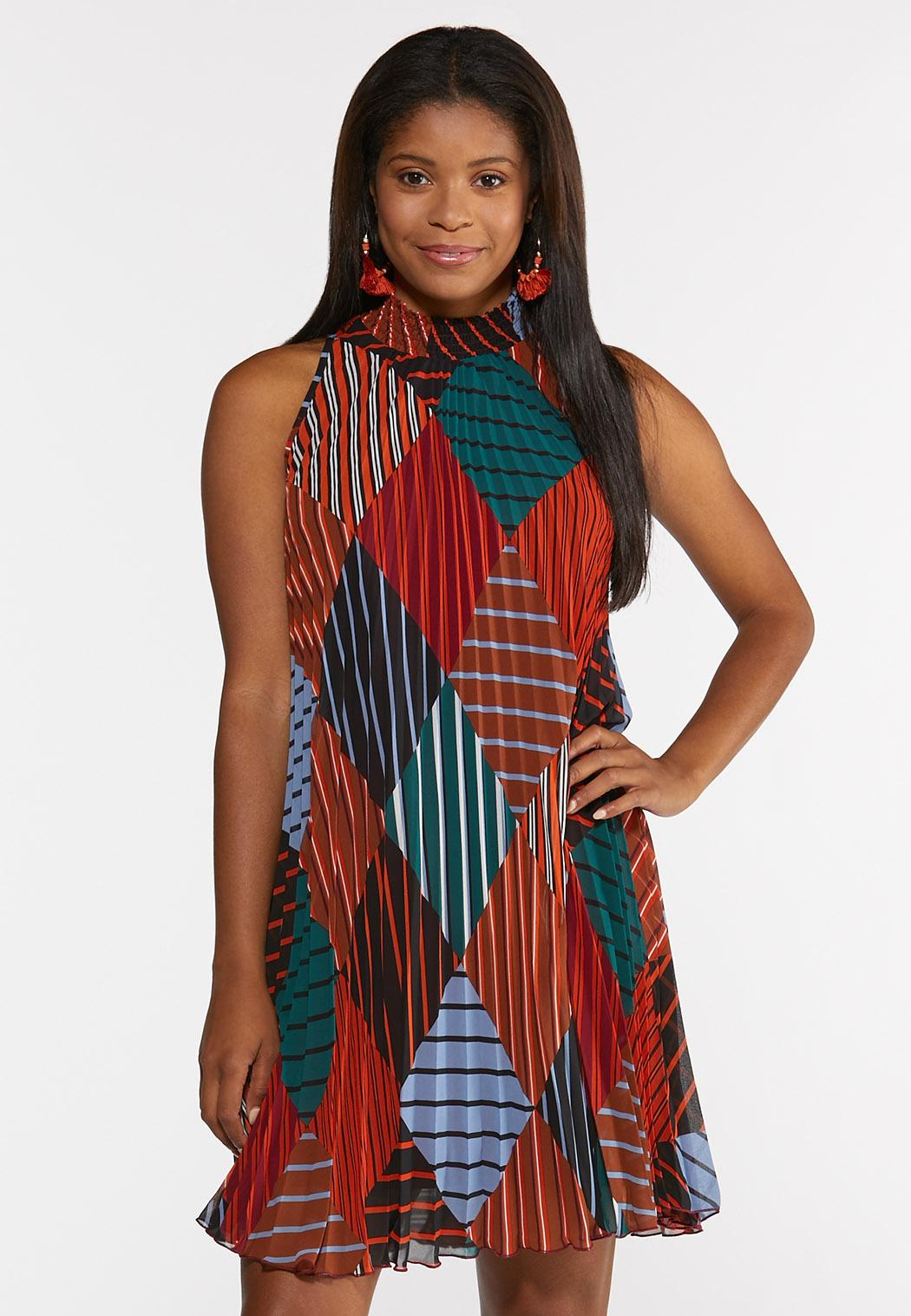 Plus Size Pleated Diamond Stripe Swing Dress