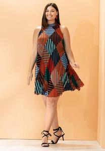 Plus Size Pleated Diamond Stripe Swing Dress