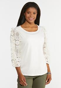 Plus Size Lacy Ruffled Sleeve Top