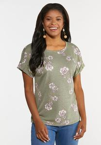 Floral Pleated Sleeve Tee