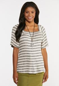 Plus Size Stripe Ribbed Top